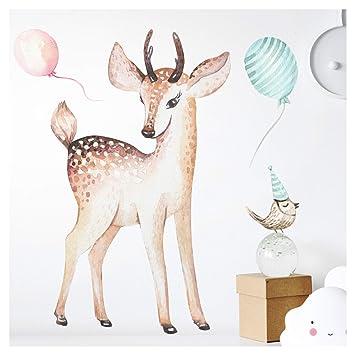 Little Deco Wandaufkleber Reh Vogel I A4 21 X 29 7 Cm I Wandbilder
