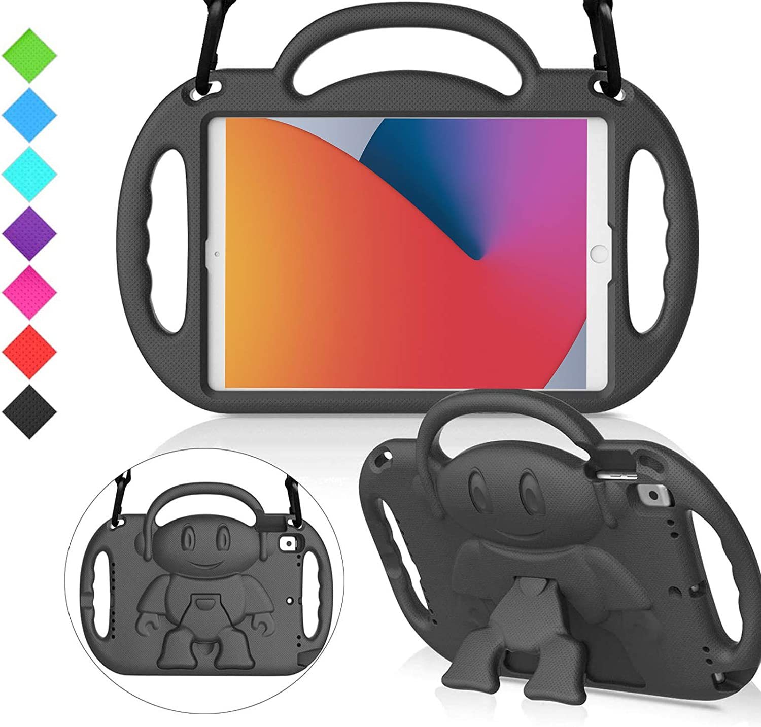 "MENZO Kids Case for New iPad 10.2"" 8th / 7th Generation 2020 / 2019, Light Weight Shockproof Shoulder Strap Handle Stand Case for New iPad 10.2-Inch 2019 / 2020 Released (Latest Model) -Black"