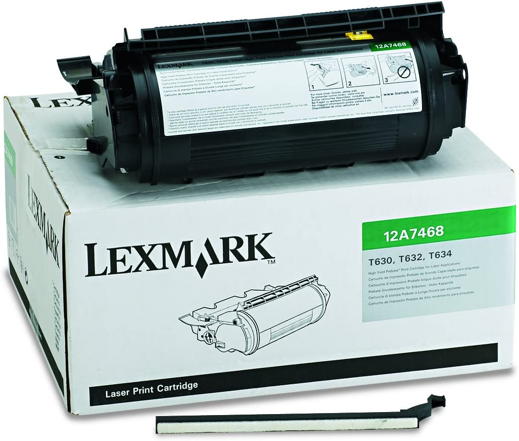 GENUINE LEXMARK LASER TONER 12A7468 FOR T630//T632//T634 NOS LOW SHIPPING BOX
