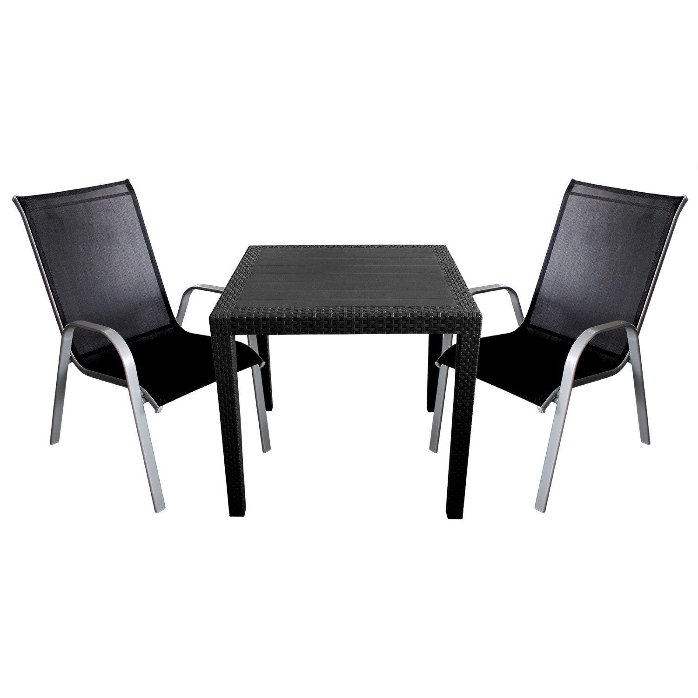 3tlg. Gartenmöbel Set Kunststoff Gartentisch mit Rattan-Look 79x79cm ...