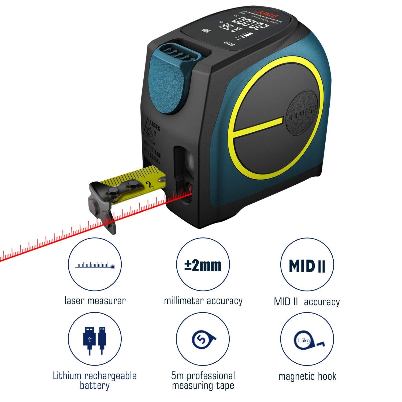 Laser Tape Measure Digital Laser Distance Meter,Hanmer Rechargable Laser Meter Laser Measure,Portable Handle Digital Range Finder