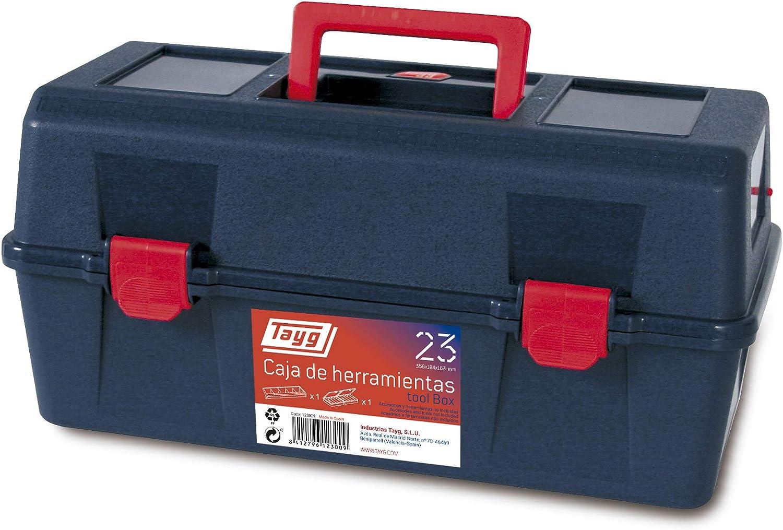 Tayg Caja herramientas plástico n. 23, negro, 356 x 184 x 163 mm: Amazon.es: Bricolaje y herramientas