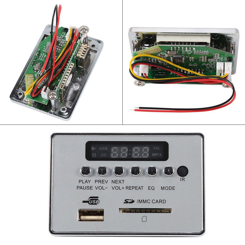 con telecomando DC12V Bluetooth Audio Decodificatore Board Modulo Audio USB SD TF FM Radio Decodificatore WMA//WAV // MP3 Senza Perdita radio Classe di efficienza energetica A Black