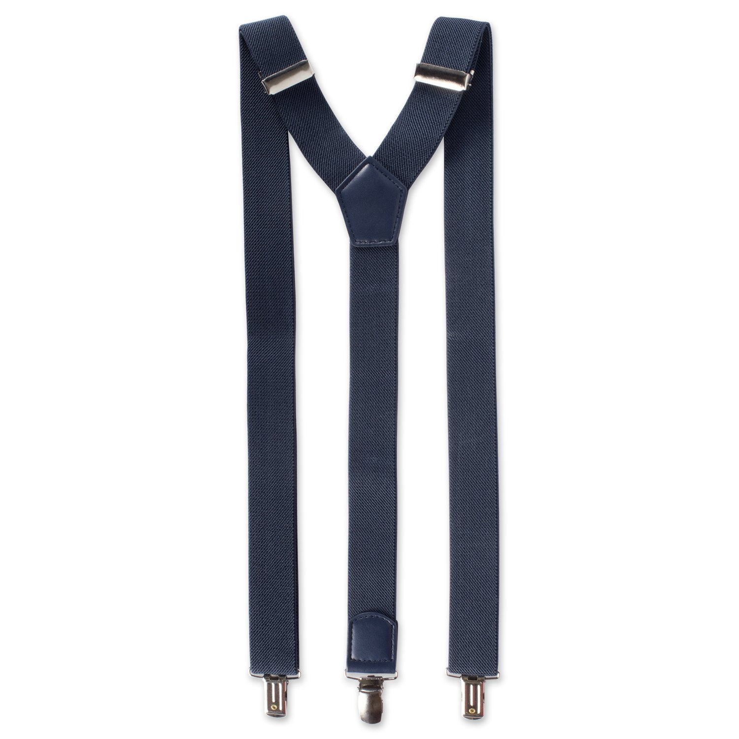 E-Living Store Men's 1.18 inch (30 mm) Woven Expandable Braided Stretch Suspenders w/ Heavy Duty Clips, (Available in Multiple Colors), Navy