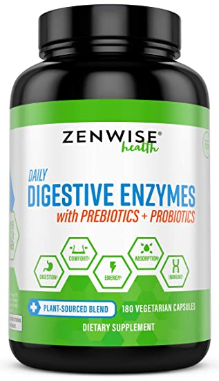 Zenwise Health Digestive Enzymes Plus Prebiotics & Probiotics - Natural Support for Better Digestion & Lactose Absorption - for Bloating & ...