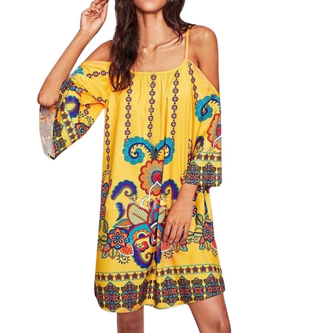 Sunward Women's Tribal Print Kimono Summer Cold Shoulder Bohemian Tunic Boho Dress (Yellow, L)