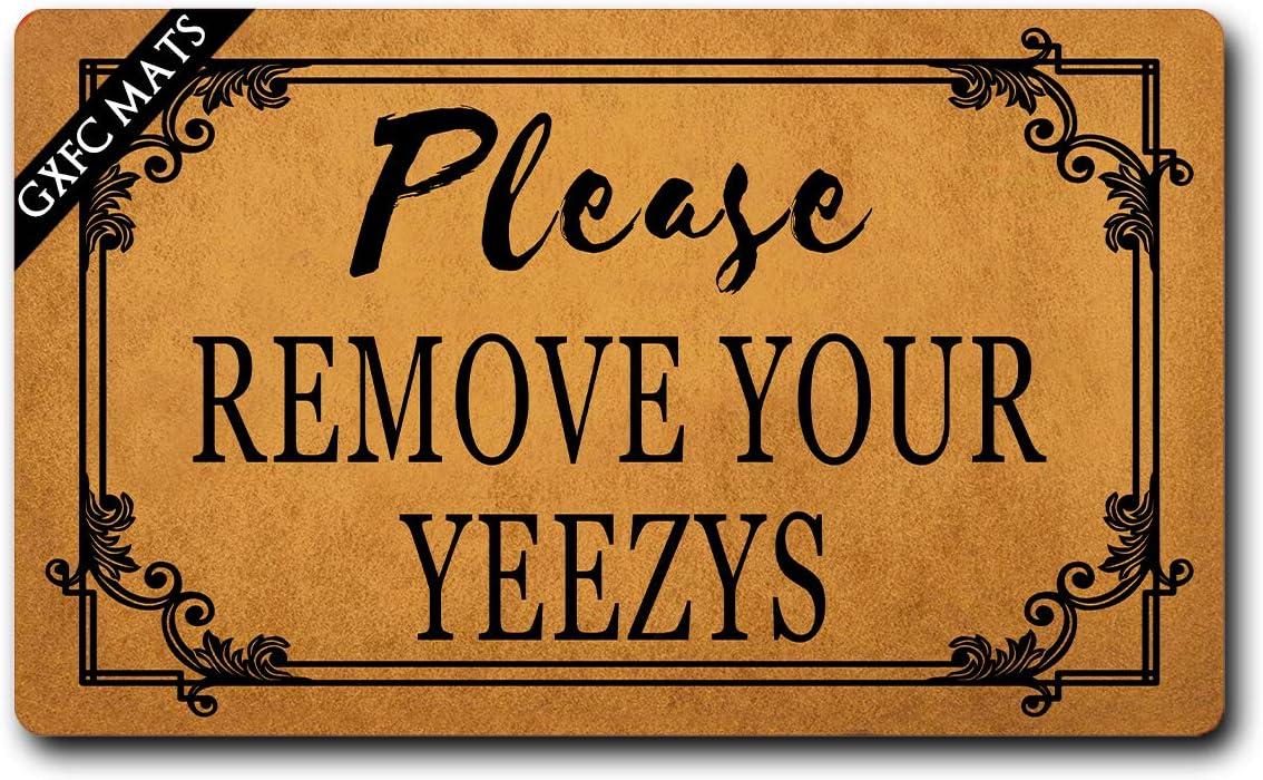 "GXFC Welcome Mat with Rubber Back Please Remove Your Yeezys Doormat Welcome Door Rugs Funny Doormat for Entrance Way Monogram Mats for Front Door Mat No Slip Kitchen Rugs and Mats 30""(L) x 18""(W)"