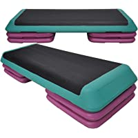 Aerobic Step - 110cm*40cm Cardio Exercise Stepper - 4 x Riser Block + 1 Green Stepper - Home Gyms and Fitness Training