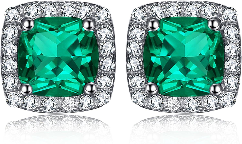 JewelryPalace Pendientes Cushion 2.1ct NANO Rusa imitado Esmeralda en plata de ley 925