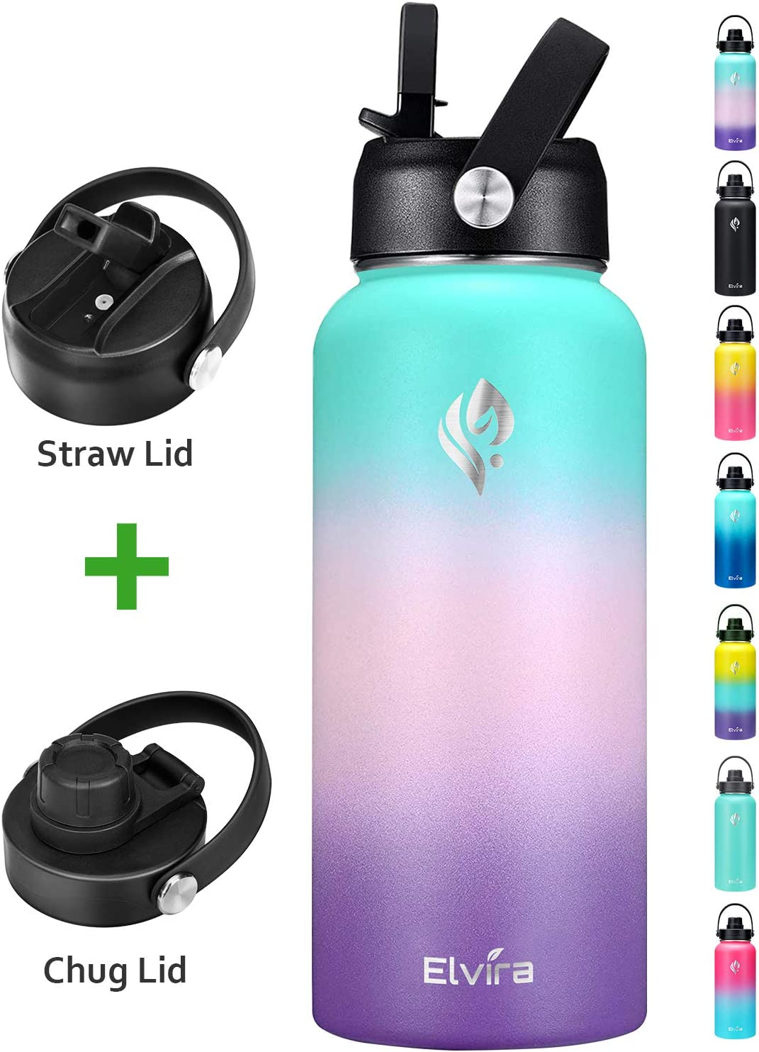 Elvira 32oz Vacuum Insulated Stainless Steel Water Bottle with Straw & Spout Lids, Double Wall Sweat-proof BPA Free Wide Mouth to Keep Beverages Cold For 48 Hrs or Hot For 24 Hrs