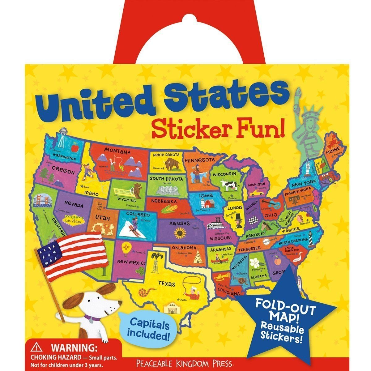 Peaceable Kingdom Award Winning Sticker Fun United States Reusable Sticker Tote SP38