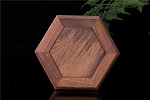 Hermosa mano Craft Rosewood hexagonal Oriental pecera jarrón soporte 4,5