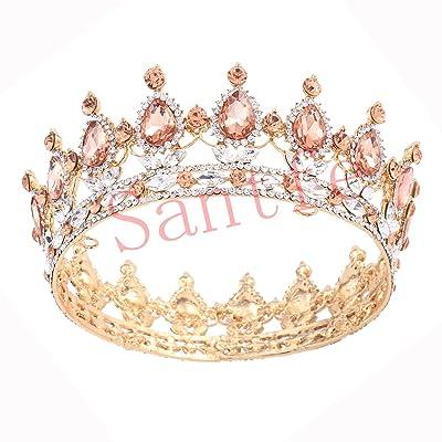 Santfe Couronne de Luxe Retro Tiare Diadème de Strass Mariage Bijoux de Cheveux Mariée pour Mariage, Pageants, Princesse Parties, Anniversaire - Multicolor (Champagne)