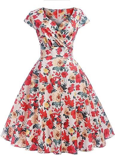 DressLksnf Falda con Volante Moda de Mujer Vestido de Lino Color ...