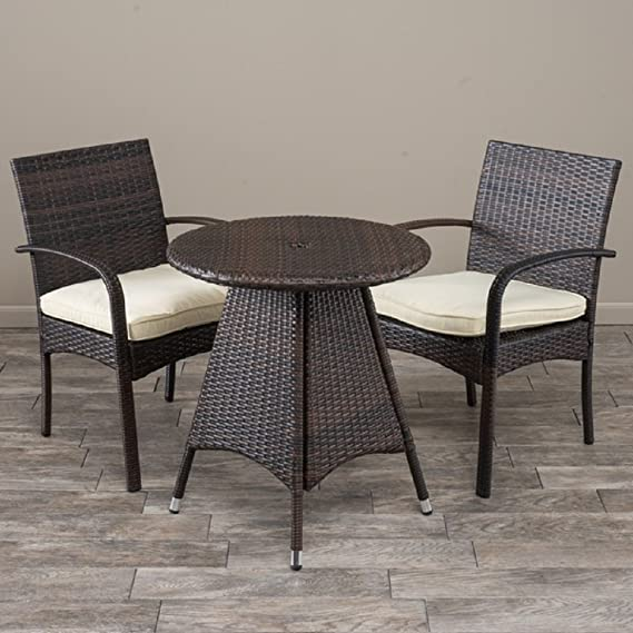 amazon com 3 piece wicker bistro set with cushions cell phones