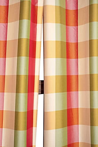 Beckford 3 checkered faux silk taffeta lined rod pocketed window treatment curtain panel 3 tone checks, 52 W X 120 L