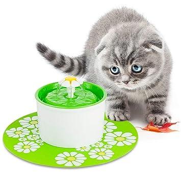 Cat Supplies Fontaine à Fleur Pour Chat Automatic Electric Flower 1.6 L Distributeur Eau Vert Pet Supplies
