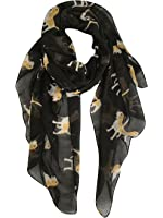 GERINLY Animal Print Scarves: Cute Dogs Pattern Voile Oblong Scarf