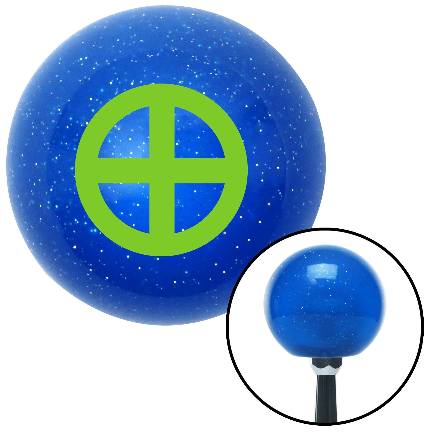 American Shifter 25351 Blue Metal Flake Shift Knob Green Sun Cross