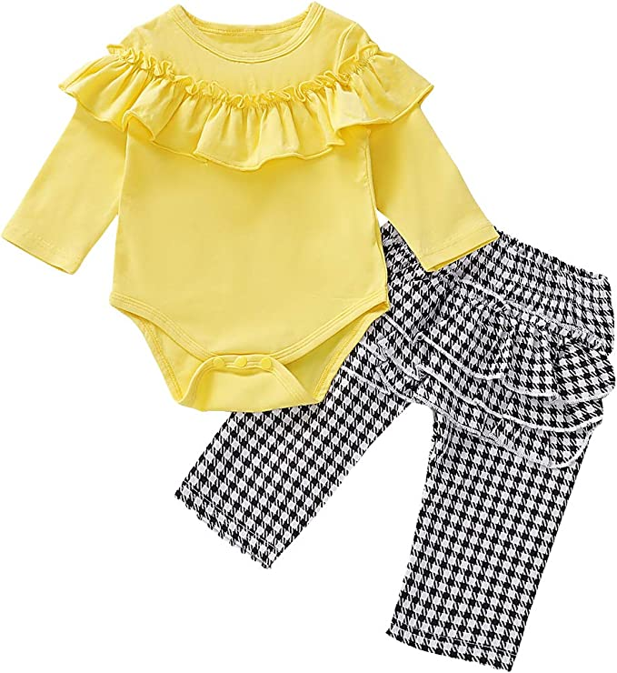Newborn Baby Girl 2pcs Clothes Set Ruffle Long Sleeve Romper Pants Clothes