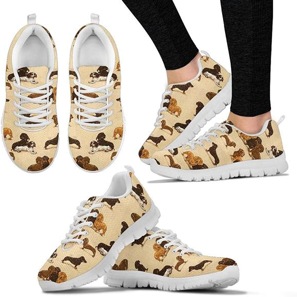 Women's Sneakers - All Dog Pattern Print Women's Casual Running Shoes (Choose Your Breed) Dachshund