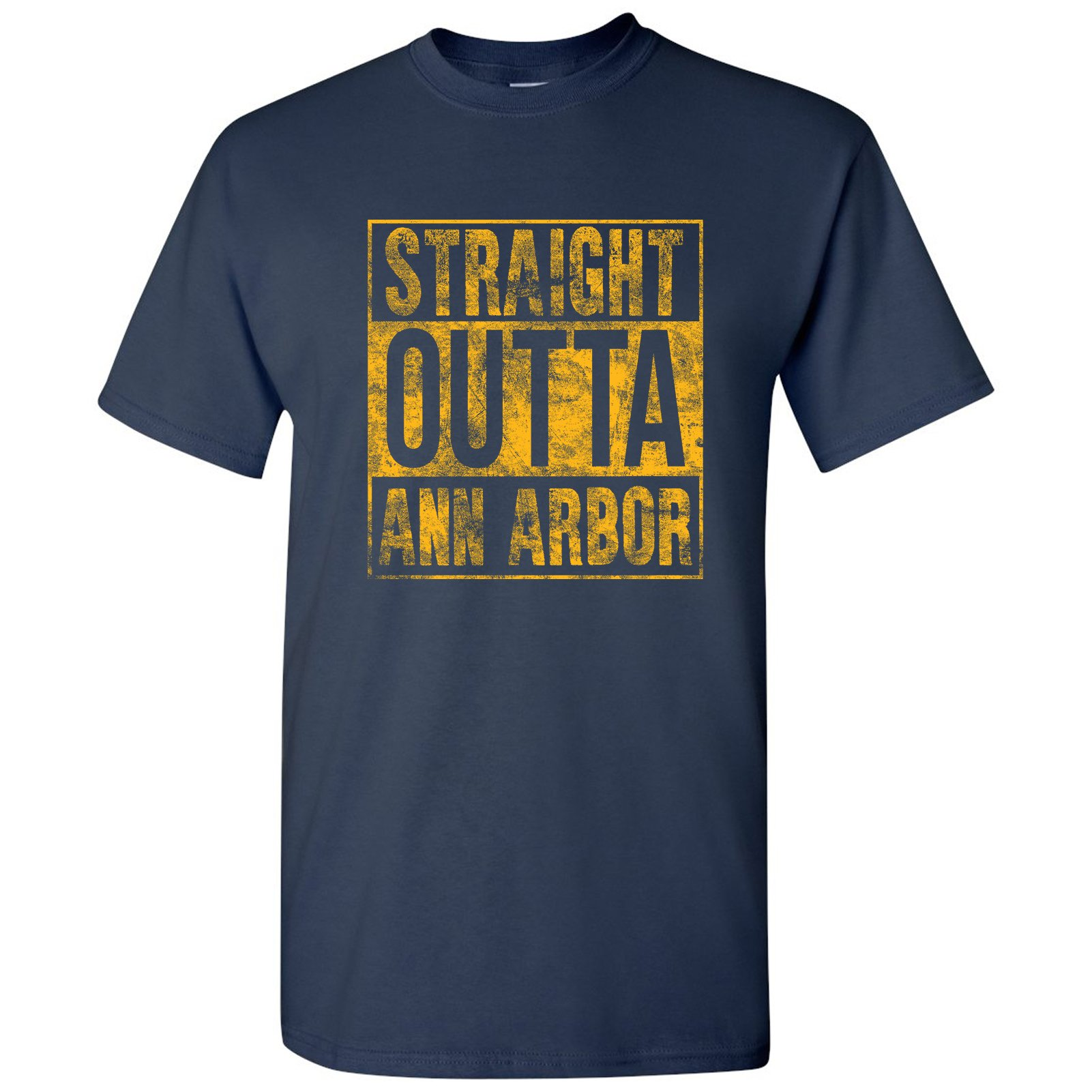 Straight Outta Ann Arbor Basic Cotton T-Shirt - 2X-Large - Navy