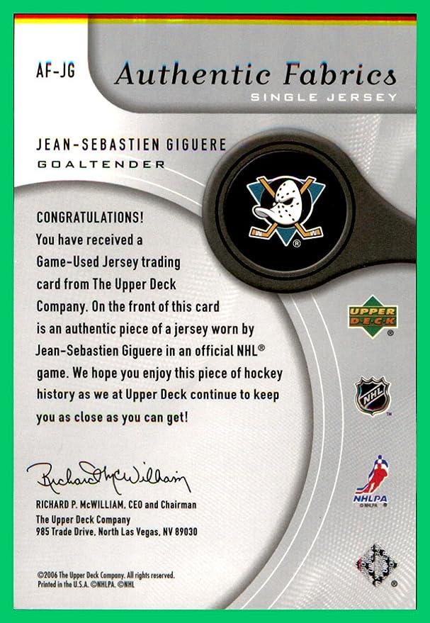 Verzamelkaarten, ruilkaarten 2005-06 SP Game Used Edition Authentic Fabrics AF-JG Jean-Sebastien Giguere Card Verzamelkaarten: sport
