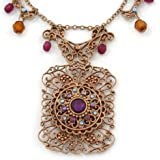 Vintage Inspired Square Shape Filigree Crystal Pendant With Burnt Tone Chain - 44cm L/ 5cm Ext