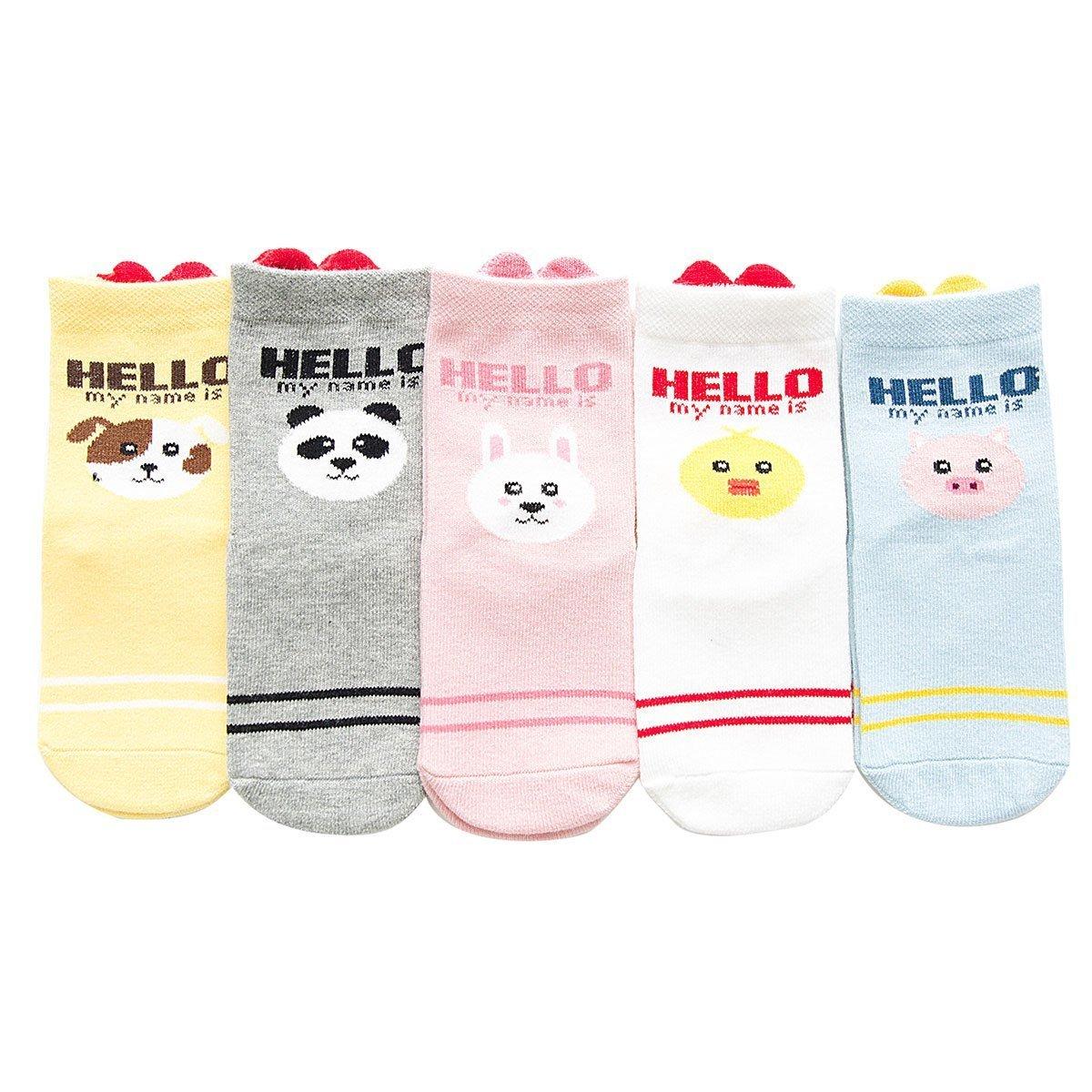 Rallytan Kids Soft Socks Cotton Cozy 5 Pair Pack Cartoon Print Socks,Shoes Size 1.5-4M Little kid-Big kid/XL/9-12 years