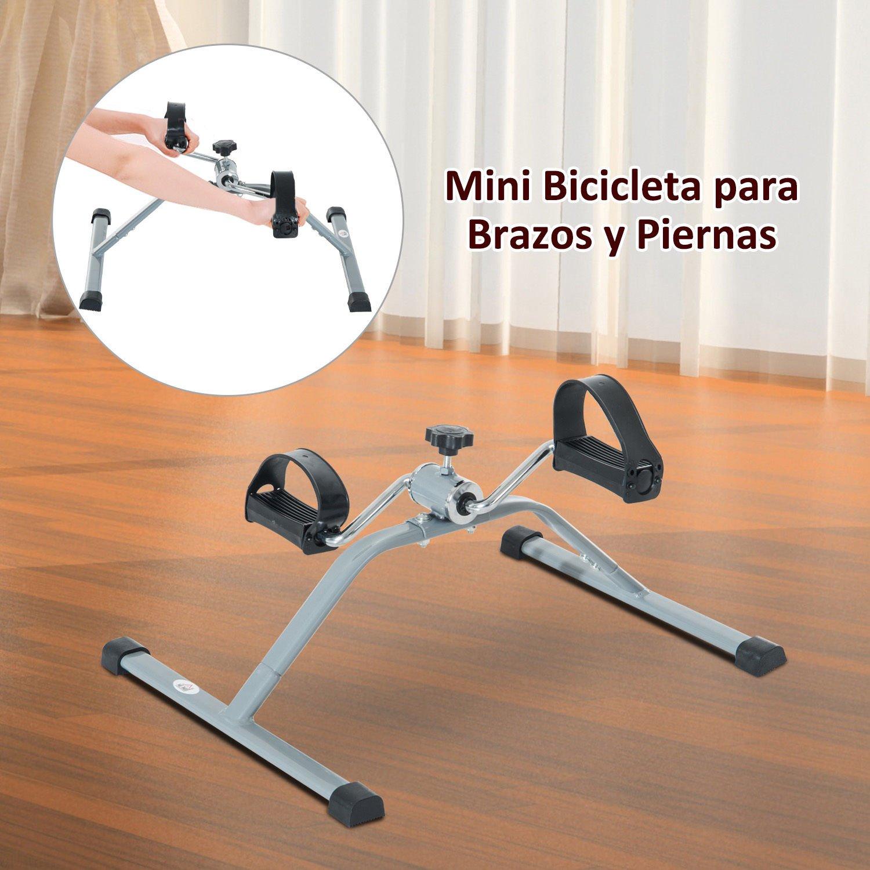 HOMCOM Mini Bicicleta Estática de Acero para Pedalear Aparato de Ejercicios 2 en 1 Brazos y Piernas 40x53x29cm: Amazon.es: Deportes y aire libre