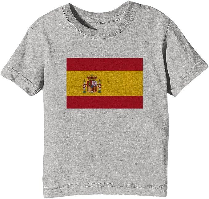 España Nacional Bandera Niños Unisexo Niño Niña Camiseta Cuello Redondo Gris Manga Corta Tamaño XL Kids Unisex Boys Girls T-Shirt Grey X-Large Size XL: Amazon.es: Ropa y accesorios