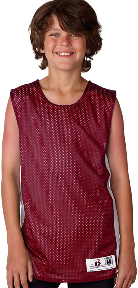 Apparel Large Maroon//White Badger Sportswear Youth Mesh Panels Tank Top