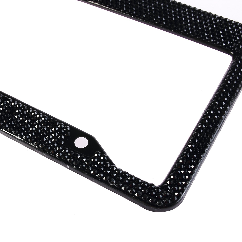 1 Frame Neobling Fashion Handmade Waterproof Black Frame Black Bowtie Bling Crystal License Plate Frame Luxury Rhinestone Car//Truck//SUV License Plate Holder