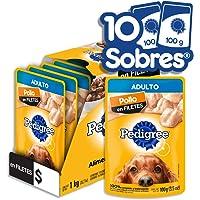 PEDIGREE alimento húmedo para perros adultos. Sabor: Pollo en Filetes. Contiene 10 sobres