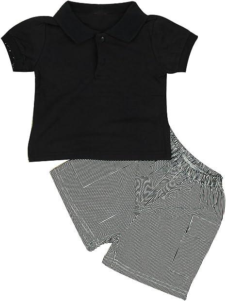 puseky bebé niños verano trajes polo + rayas pantalones cortos ...