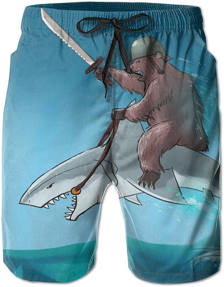 Animal Bear Riding A Shark Summer Mens Quick-drying Swim Trunks Beach Shorts