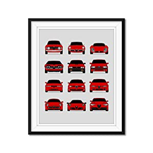 Poster Inspired by Alfa Romeo History and Evolution Poster Print Wall Art Handmade Decor of the Best of Alfa Romeo Generations