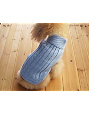 FAMI Cute Pet Clothes, European Classical Pet Sweater, Turtleneck Dog Sweater with Classic Aran Knit(SkyBlue- Small)