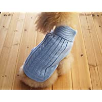 FAMI Cute Pet Clothes, European Classical Pet Sweater, Turtleneck Dog Sweater with Classic Aran Knit(SkyBlue- Medium)