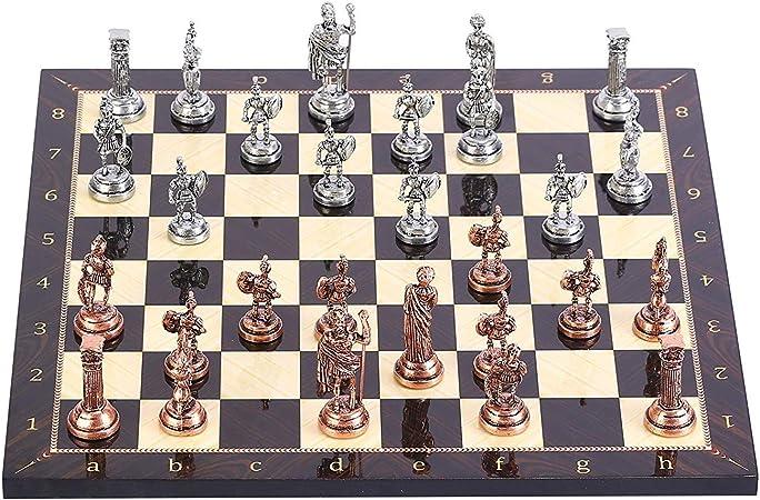 GiftHome - Juego de ajedrez de Metal con Figuras Romanas de Cobre Antiguo para Adultos, Piezas Hechas a Mano y Tablero de ajedrez de Madera con patrón de Nogal, King 2.8 Pulgadas: