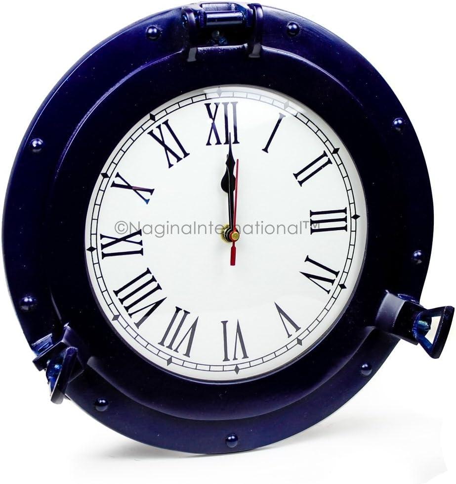 Nagina International Nautical Porthole Aluminium Blue Color | Maritime Wall Decor (17 Inches, Clock)