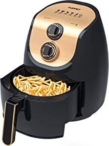 KUPPET 3.4 QT Air Fryer Hot Electric Oven Oilless Cooker With Deluxe Temperature Knob Control, Nonstick Fry Basket with Stainless Steel Finish, Auto Shut-off, 1500W, BPA & PFOA Free