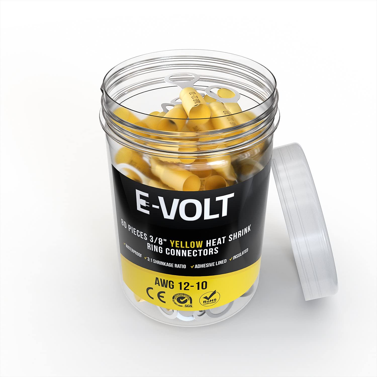 E-VOLT 80 PC Yellow Heat Shrink Ring Crimp Connectors: Sizes: #10 Marine 3//8 Audio Insulated 12-10 AWG Automotive Gauge 12 10 Bulk Electrical Terminals 1//4 5//16 Industrial