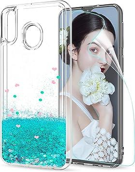 LeYi Compatible con Funda Samsung Galaxy M20 M 20 Silicona Purpurina Carcasa con HD Protectores de Pantalla,Transparente Cristal Bumper Telefono TPU Gel Case Cover para Movil Samsung M20 ZX Verde: Amazon.es: Electrónica