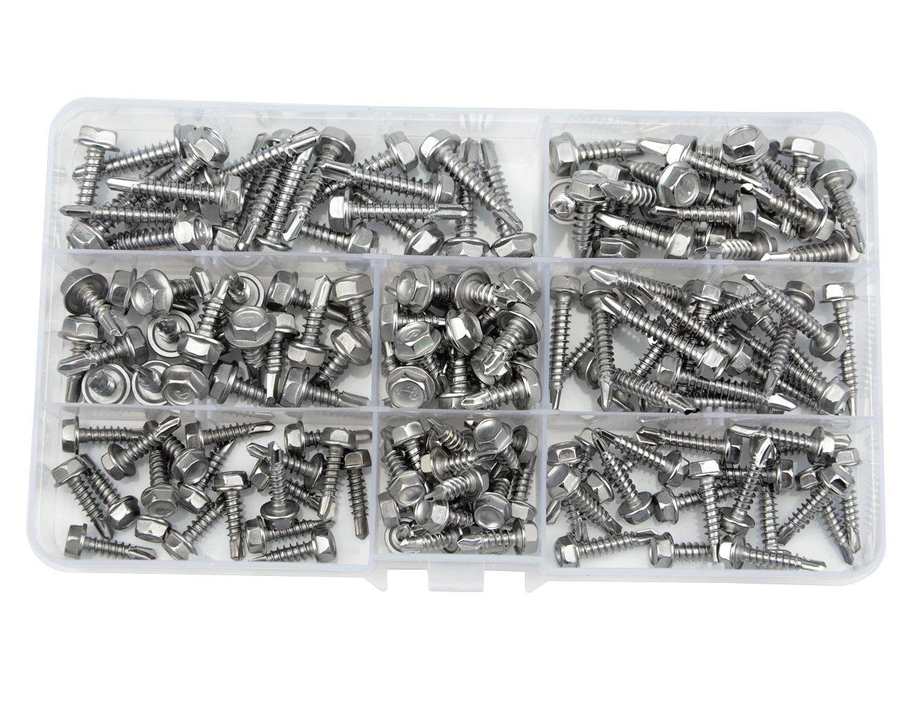 WGCD 240 PCS Stainless Steel #8#10 Hex Washer Head Self Drilling Sheet Metal Tek Screws Assorted Kit Hex Head