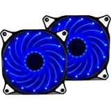 Vetroo 120mm Blue 15-LEDs Cooling Fan for Computer PC Cases, CPU Coolers and Radiators, 2-Pack