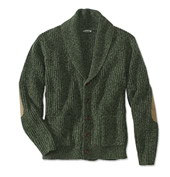 Orvis Men\u0027s Wool,Blend Shawl Cardigan Sweater, Green, Medium