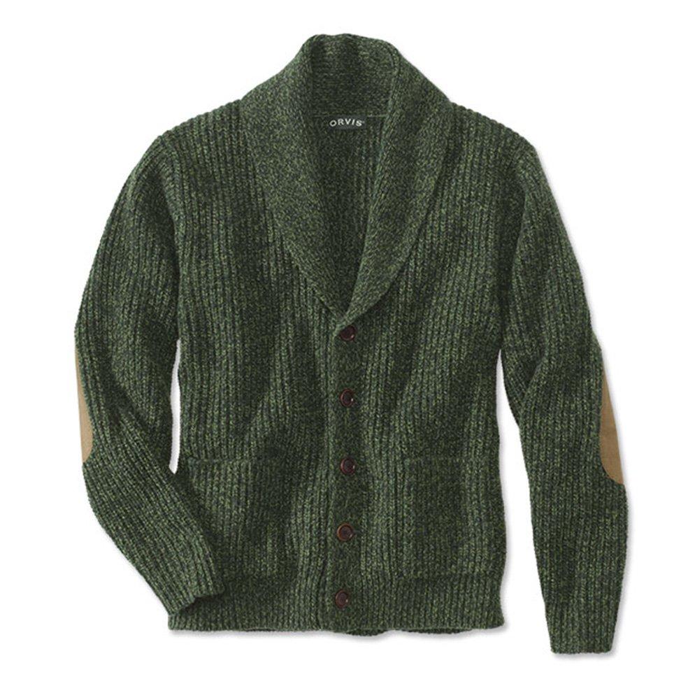 Orvis Men's Wool-Blend Shawl Cardigan Sweater, Green, X Large