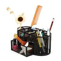 Organiseur de bureau en métal à crayons en maille multifonctionnel porte-stylo noir