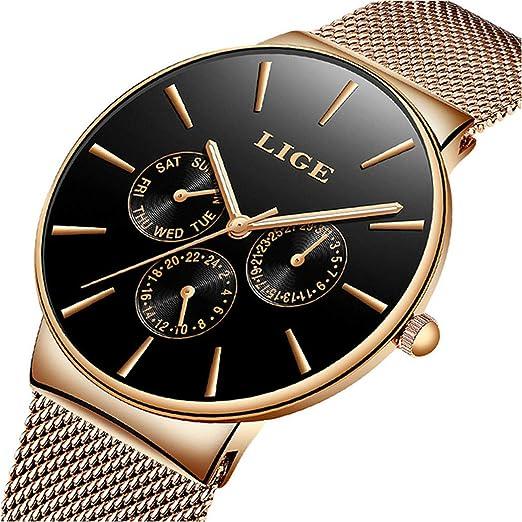 LIGE Men's Watch Fashion Waterproof Stainless Steel Analog Quartz Watch Luxury Business Multifunction Military Watch